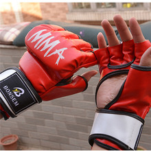 1 Pair Men Women PU Half-glove Kick Boxing Gloves Black and Red Muay Thai MMA Fright Training Gym Sport Fitness Tactical Gloves