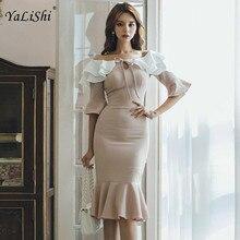 Plus Size Mermaid Dress Women Autumn Pink Half Flare Sleeve Slash Neck Knee-length Elegant Bodycon  Casual Office Dresses
