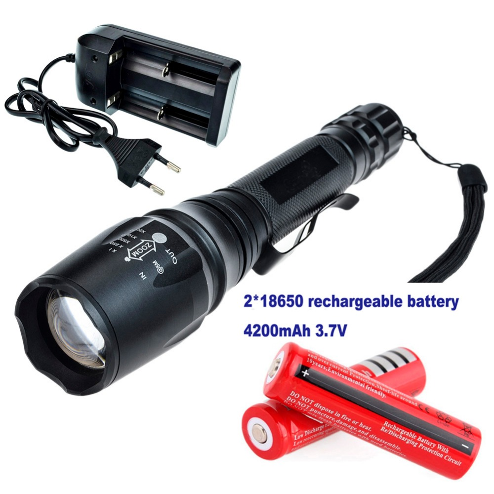 Zoomable LED Flashlight 2000 Lumens CREE XM-L T6 Lantern Light 5-mode Strobe SOS High Power Light Waterproof Torch 18650 Charger 6000 lumens cree xm t6 zoomable 5 modes led flashlight tactical lantern waterproof torch camping flash light for 26650 18650 aaa