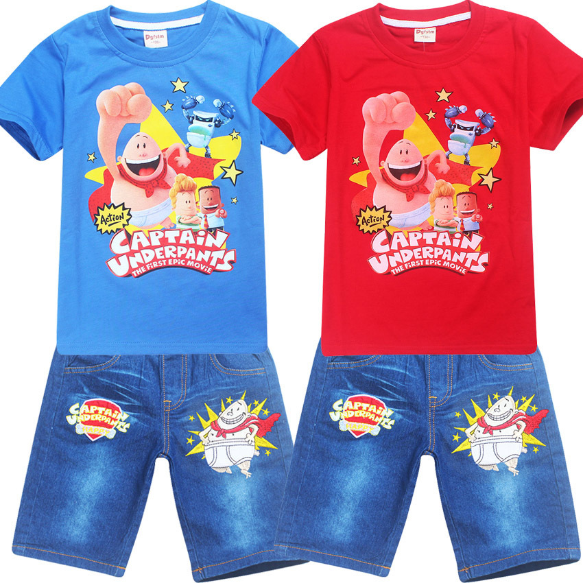 High Quality Baby Boy Clothes 2017 Summer Captain Underpants Jeans Suit Clothes Set for Boy T Shirt and Pants Boys Shorts Set 2pcs set baby clothes set boy