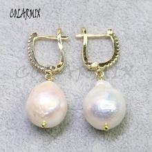 5 5pairs ビッグ真珠のイヤリング天然真珠のイヤリングフックレトロジュエリーの石のイヤリング女性のギフト彼女卸売ジュエリー 8006