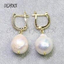 5 คู่ Big Pearl ต่างหูไข่มุกธรรมชาติ Hook Retro เครื่องประดับหินต่างหูผู้หญิงของขวัญของเธอขายส่งเครื่องประดับ 8006