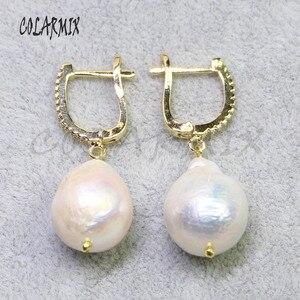 Image 1 - 5 pares grandes pendientes de perlas naturales gancho retro joyería piedra pendientes mujeres regalo para su venta al por mayor joyería 8006