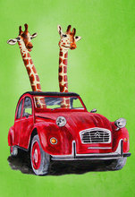 Frameless painting by numbers paint by number for home decor  picture oil painting for living room giraffe in red car
