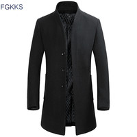 FGKKS Men Winter Wool Coat Men's New Fashion Solid Color Warm Thick Wool Blends Woolen Pea Coat Male Trench Coat Overcoat