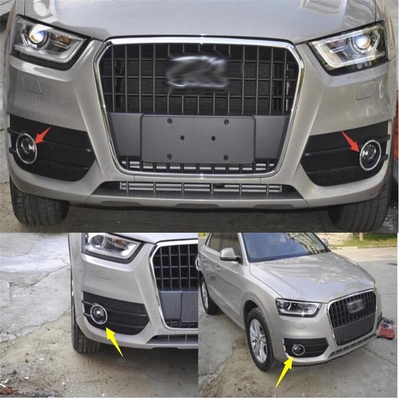 Chrome Front Fog Light LAMP Ring cover trim For AUDI Q3 2012 2013 2014 2015