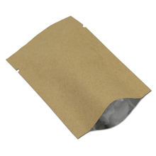 100Pcs Open Top Kraft Paper Aluminum Foil Food Packaging Bags Mylar Vacuum Heat Seal Packing Bag for Dried Fruit Snack Package