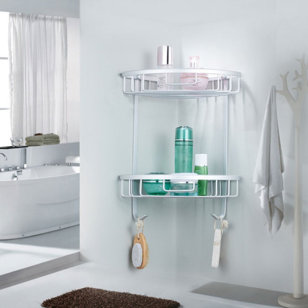Double Tiers Shower Basket Bathroom Corner Shelf Aluminum Storage ...
