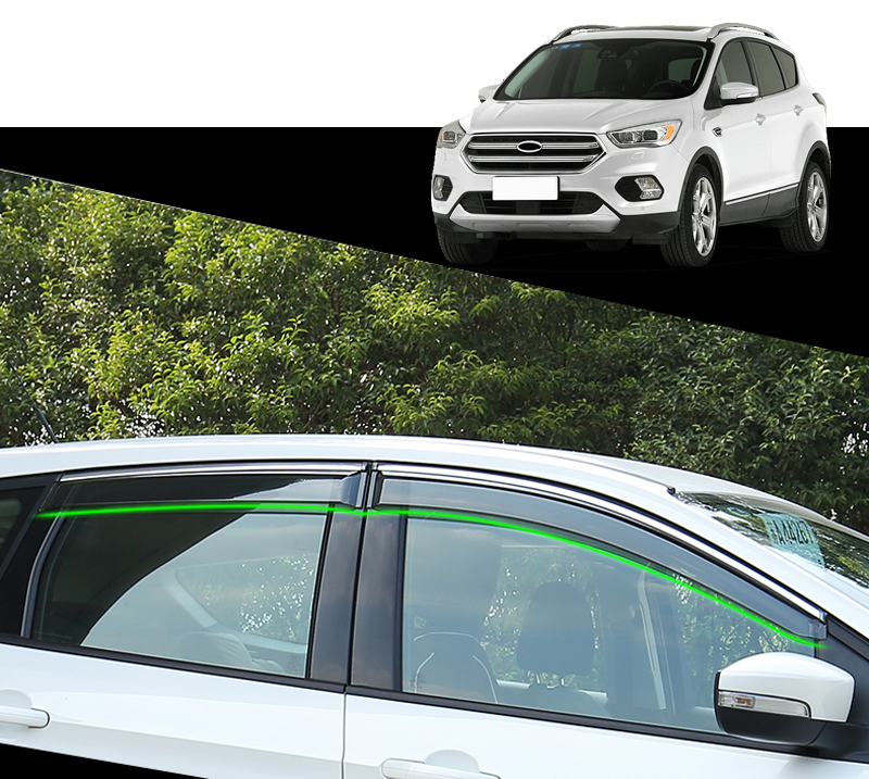 For Ford Kuga Escape 2013 2014 2015 2016 2017 2018 Plastic Window Visor Rain Sun Shield Guard Deflector Trim 4pcs Car Styling jgrt chrome rear window wiper cover trim for 2013 2014 2015 frod escape kuga new high quality chrome stickers trim car styling c