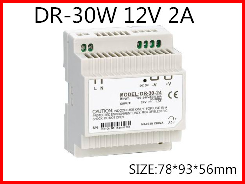 DR-30-12 Din Rail Switching power supply 30W 12VDC 2A Output AC to DC ac dc dr 60 5v 60w 5vdc switching power supply din rail for led light free shipping