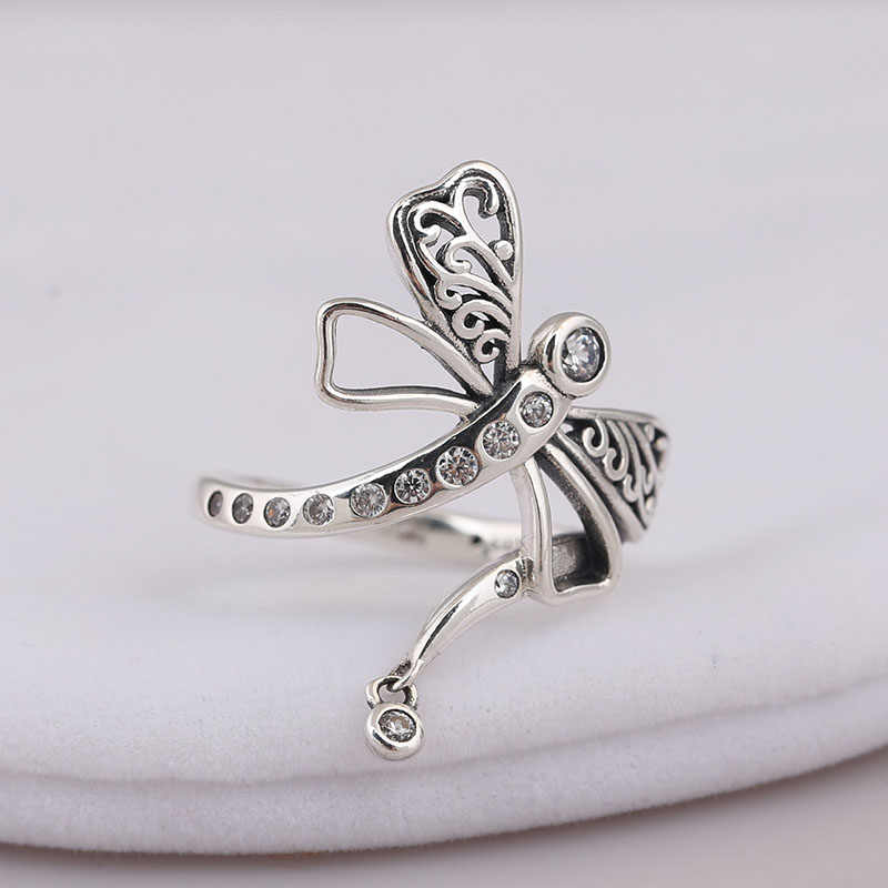 Genuine 925 sterling Silver Dreamy Dragonfly Ring CZ Compatible For Women Engagement Wedding Gift Europe Jewelry