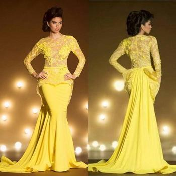 Fashion Lace Formal Evening Dresses With Long Sleeves Mermaid Appliqued Sheer Jewel Neck Peplum Prom Dress Yellow Evening Gowns