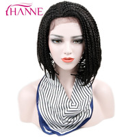HANNE 16inch Bob Synthetic Lace Front Wig With Baby Hair African American Braided Black Color Box
