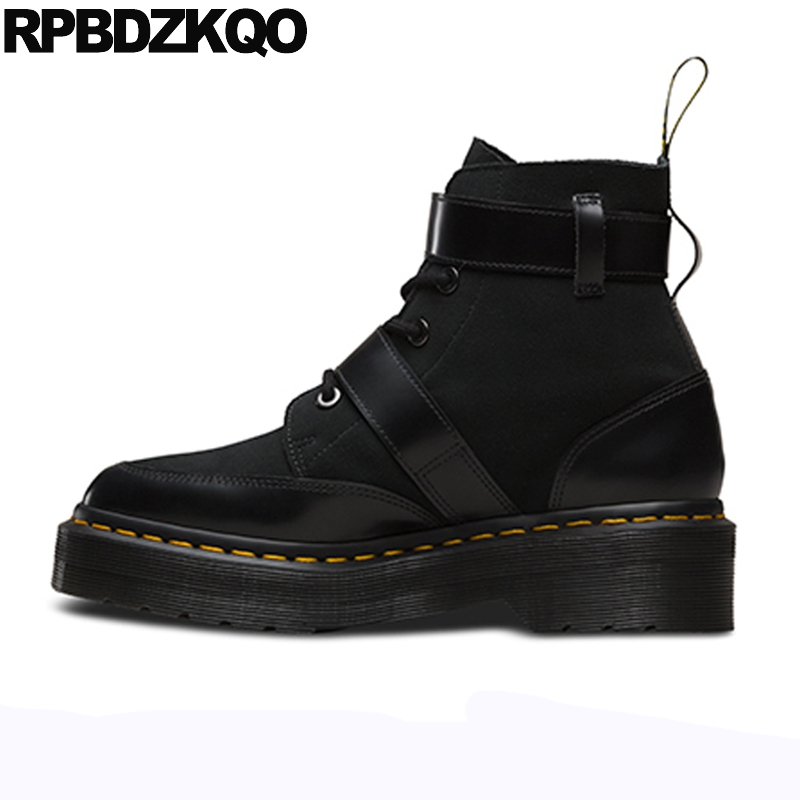 Metal Genuine Leather Harajuku Shoes Brand Women Winter Boots Muffin Lace Up Military Combat Flat Ankle Platform Black Female wide calf designer slip on trend short harajuku shoes japanese flat women boots winter 2017 ankle autumn black lace up female