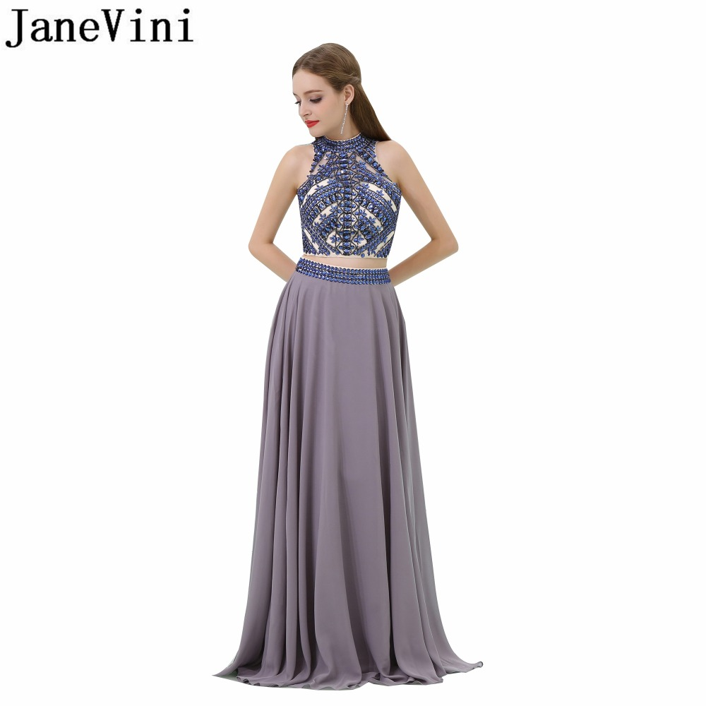 JaneVini Elegant Chiffon Long Plus Size   Bridesmaid     Dresses   A Line High Neck Backless Two Piece Beads Crystal Prom   Dress   In Stock