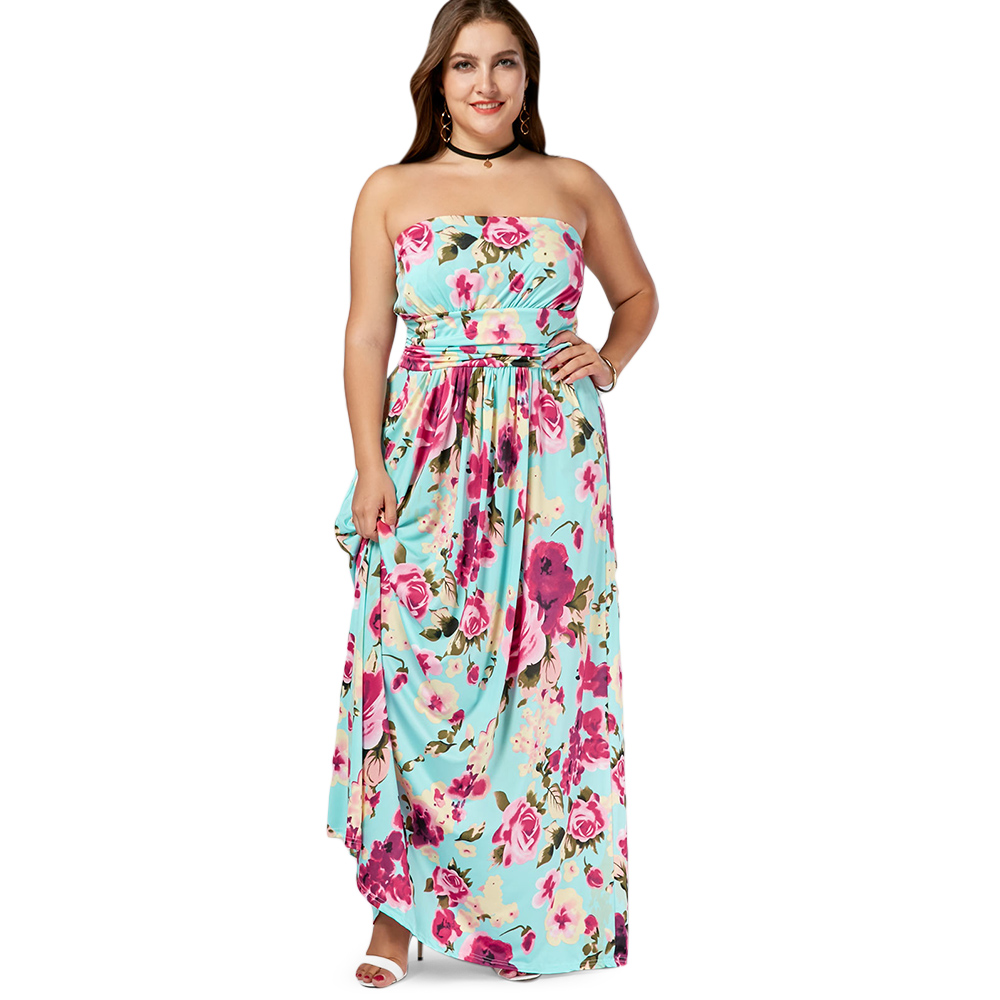 Detail Feedback Questions about Gamiss Plus Size Strapless Floor Length  Floral maxi Dress Women Summer Casual Boho A Line Bandeau Long Vestidos  Plus Size ... a2bed1fb3e86