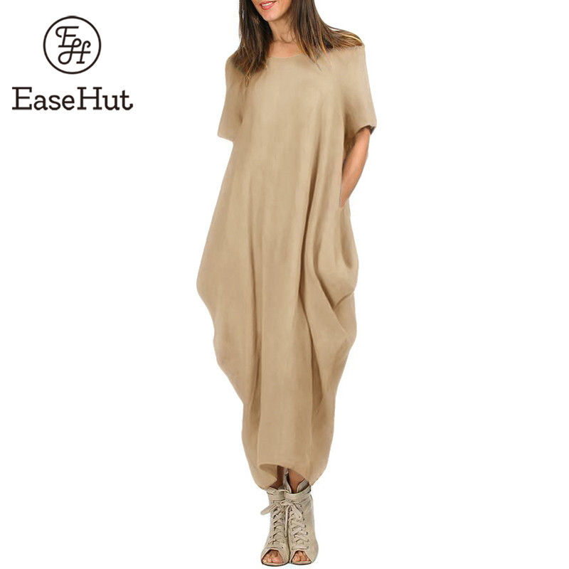 EaseHut Women Maxi Dress O Neck Pocket Summer Loose Casual Baggy Robe Plus Size 5XL Female Retro Long Dresses vestidos mujer(China)