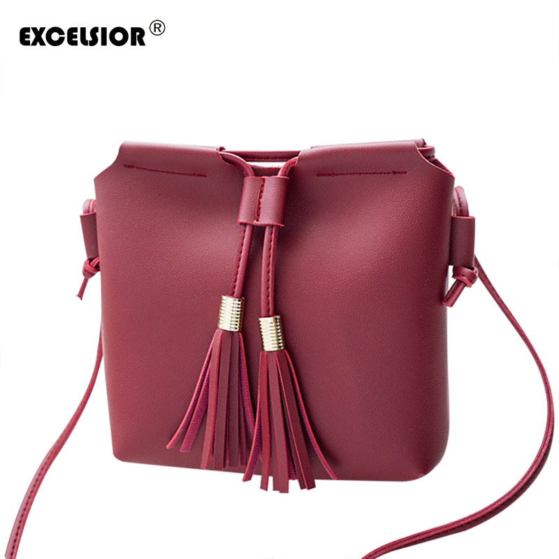 EXCELSIOR 2018 New Fashion Satchel PU Leather Shoulder Bag for Women Tassel Handbag Ladies Crossbody Bags Tote drop shipping new fashion women girl student fresh patent leather messenger satchel crossbody shoulder bag handbag floral cover soft specail