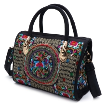 New Arrive Women Floral Embroidered Handbag Ethnic Boho Canvas Shopping Tote Zipper Bag canvas ethnic print tote bag