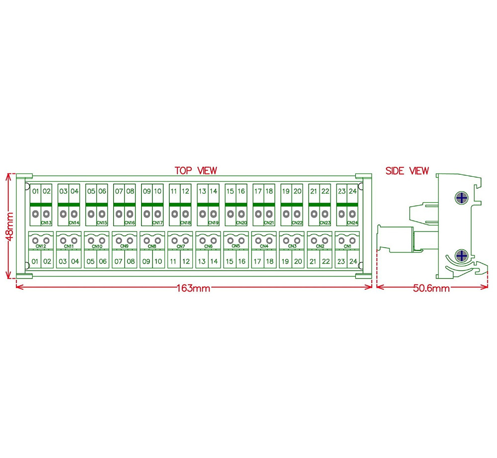 Electronics-Salon DIN Rail Mount Pluggable 12x2 Position 10A//300V Screw Terminal Block Distribution Module. Top Wire Connects