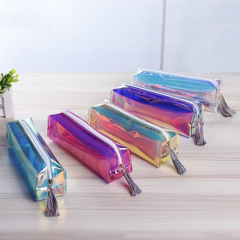 Women Laser Cosmetic Bag Fashion Tassel Makeup Bag Transparent Long Design Waterproof PVC Makeup Pouch