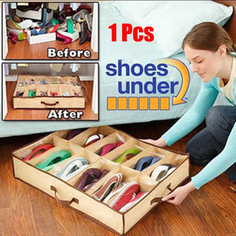 12 Pairs Vogue Shoes Storage Organizer Holder Container Under Bed Closet Box Bag multifunctional car storage box container grey