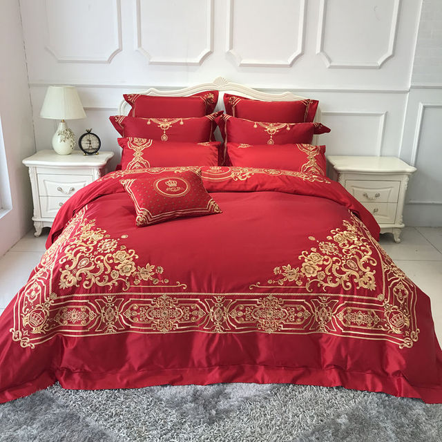 Wonderful Red Color Luxury Wedding Bedding Set Gold Embroidered Duvet Cover King  Queen Size Bed Sheet Set