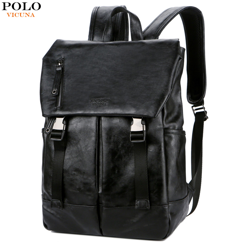 f70c0142b4 VICUNA POLO Personality Leather Student School Bag Male Casual Daypack  Large Capacity Men Travel Bag Men 15 inch Laptop Backpack