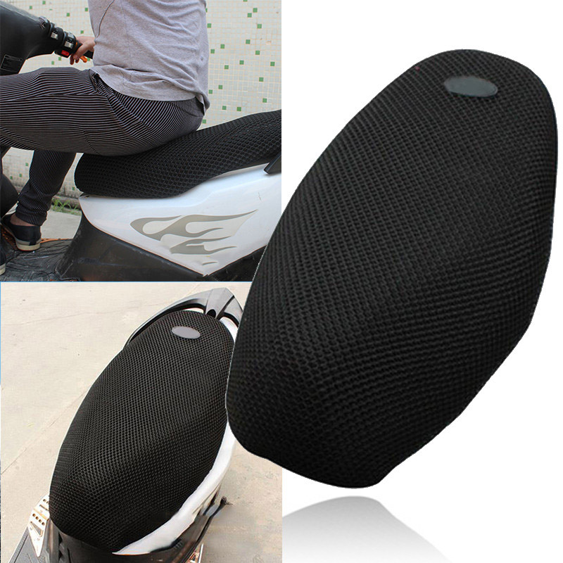 3D Sun Proof Motorcycle Scooter Electric Bicycle Sunscreen Seat Cover Scooter Sun Pad Heat Insulation Cushion Protect Cover L new summer cool 3d mesh motorcycle seat cover breathable sun proof motorbike scooter seat covers cushion for honda yamaha suzuki