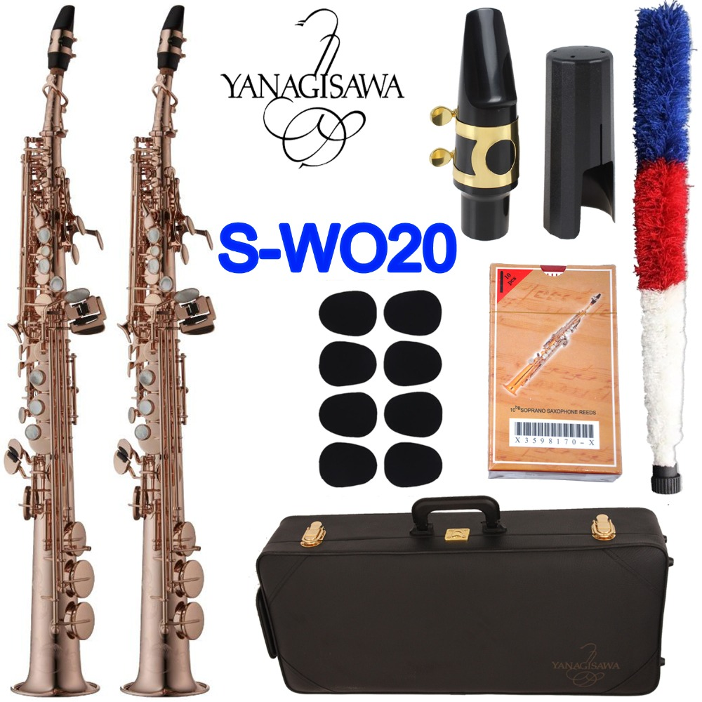 Yanagisawa saxophone Soprano S-WO20 Rose Or Sax Soprano Bec Ligature Roseaux Cou Instrument de musique Accessoires