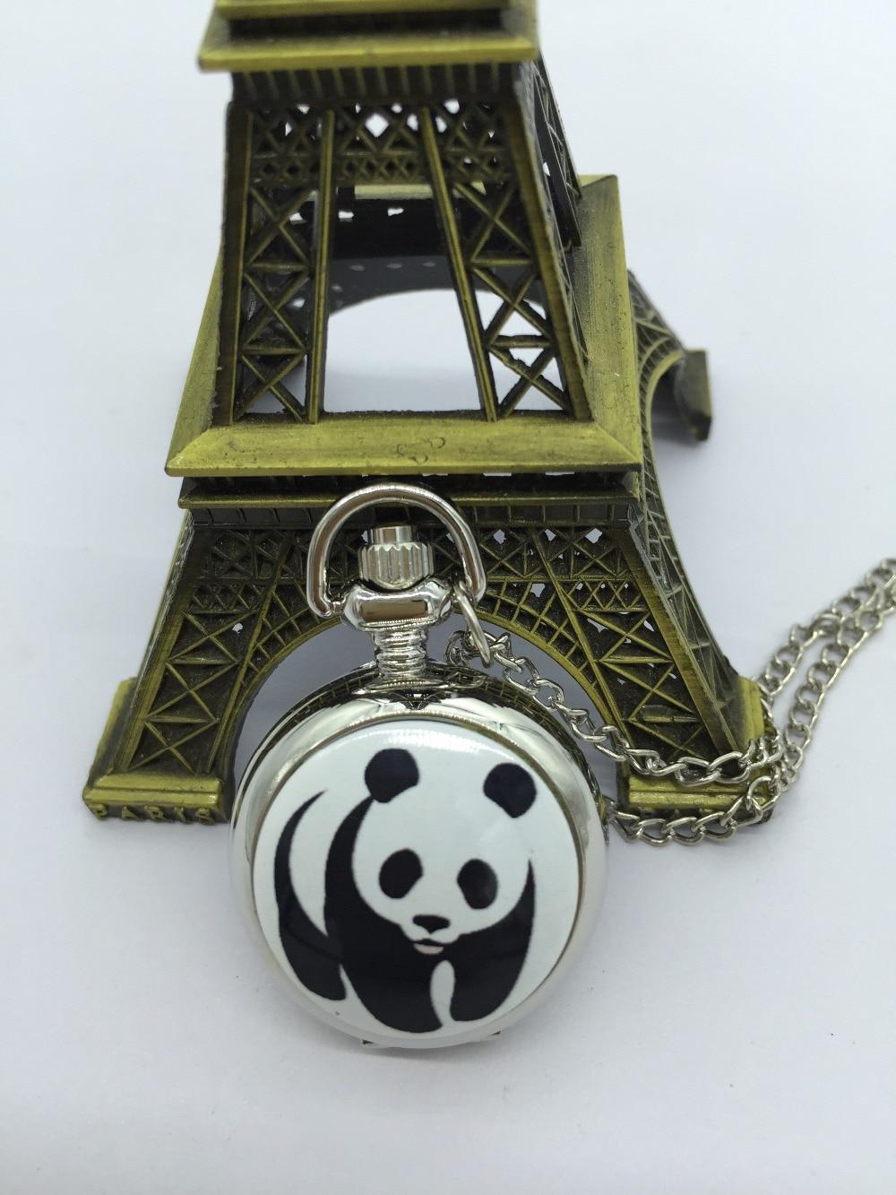 2076 Fashion Lovely Cute Panda Mini Mirror Pocket Watch Kids Girls Wholesale 10 PCS