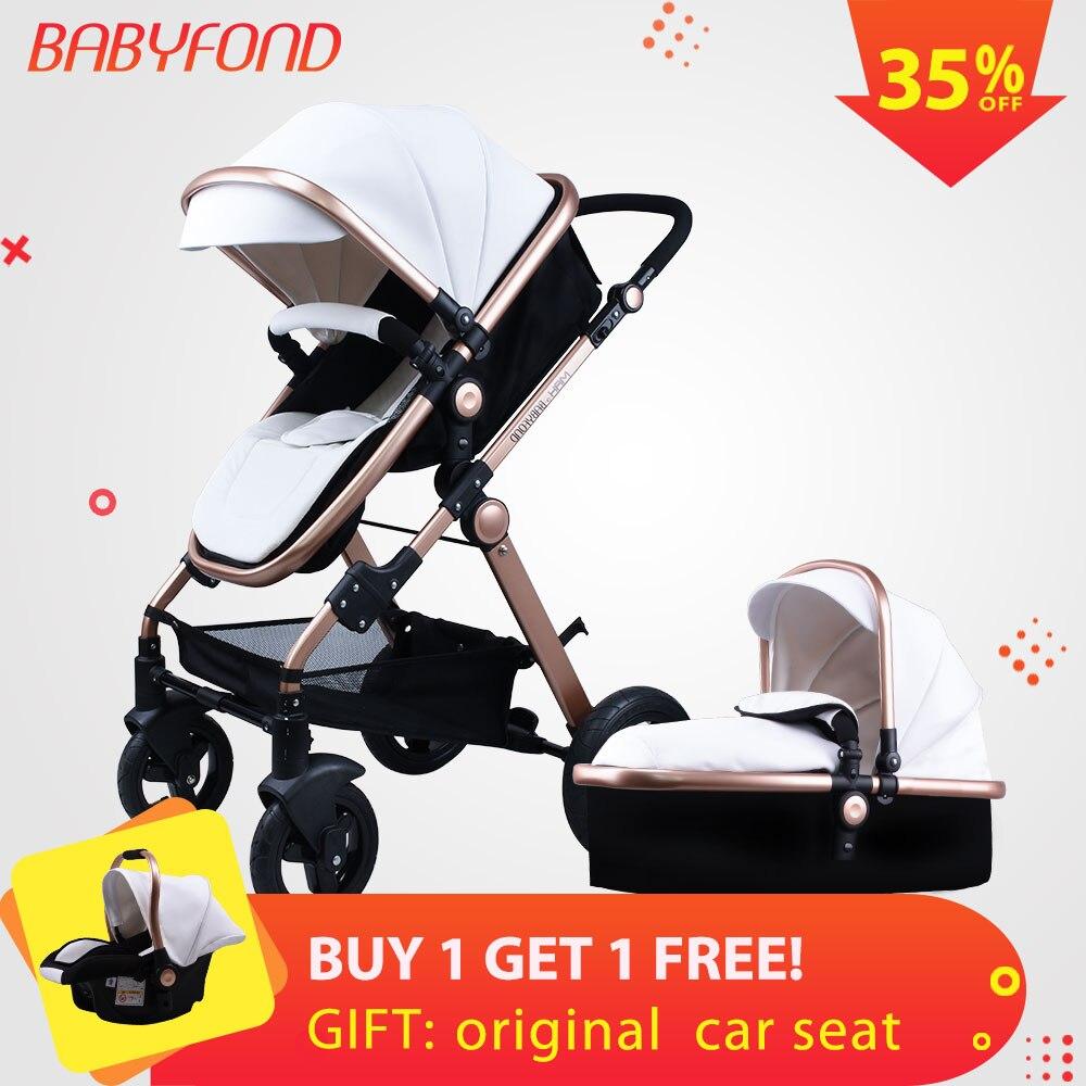 Babyfond 3 en 1 cochecito de bebé impermeable de la PU material multi-color de lujo Luz Portátil cochecito de bebé con la cesta y asiento de coche