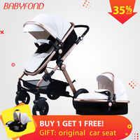 Babyfond 3 en 1 landau PU matériel imperméable à l'eau multi-couleur lumière de luxe portable bébé poussette avec panier et siège de voiture