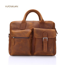 YUPINXUAN Businessmen Briefcase Cow Leather Laptop Bags Crazy Horse Shoulder Bags Cowhide Male Messenger Bag Hombre Bolsa Russia