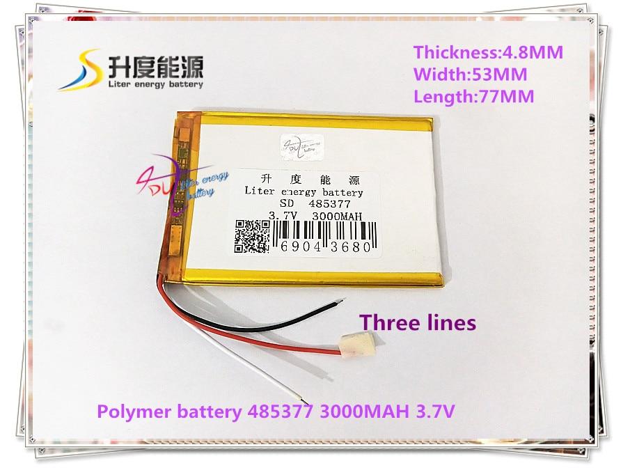 3 Linie 485377 3,7 V 3000 Mah 505575 Polymer Lithium-ion/li-ion Batterie Für Tablet Pc Handy Power Bank Reinweiß Und LichtdurchläSsig Tablet-akkus & Backup-stromversorgung