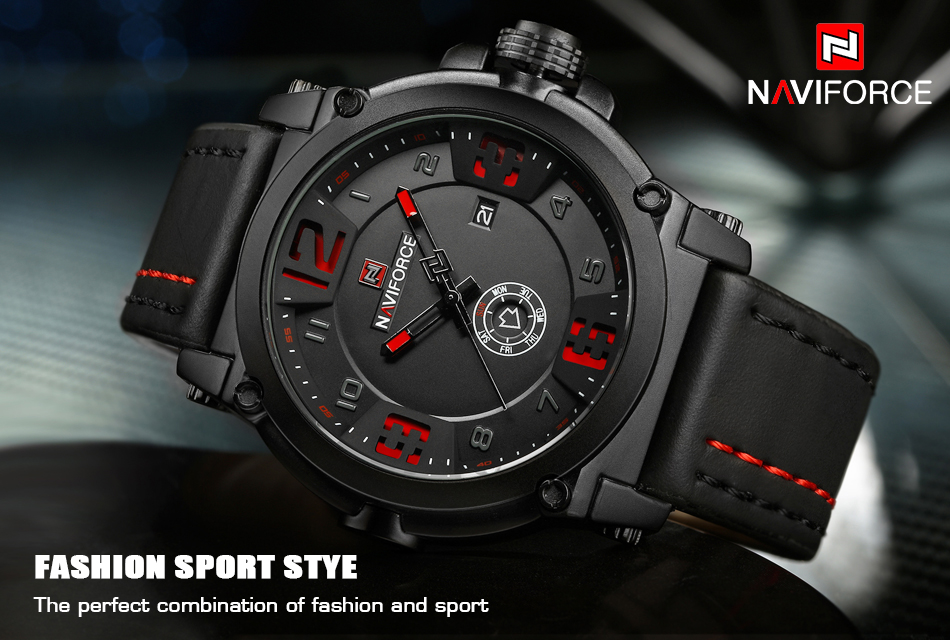 1  High Model Luxurious NAVIFORCE Males Sports activities Watches Males's Military Navy Leather-based Quartz Watch Male Waterproof Clock Relogio Masculino HTB1Dg