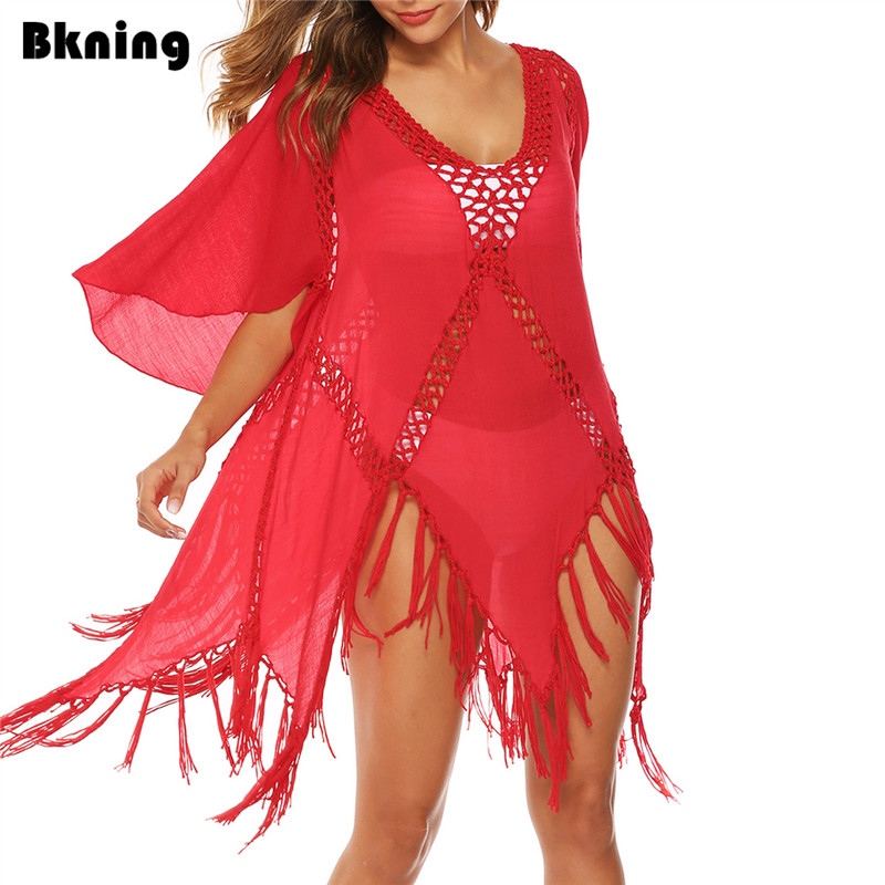 Sexy Cover Up Swimwear Beach Dress Sheer Bathing Suit Cover Ups Robe De Plage Beach Wear Red Tassel Tunic Sleeve V Neck Cover-up