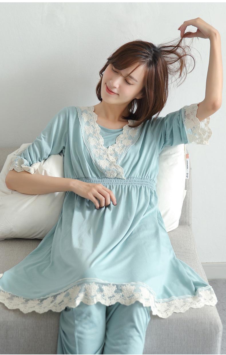 b2158dc4bc9e3 2 Pieces Sexy Lace Maternity Pajamas for Pregnant Women Long Sleeves  Nursing Sleepwear Breastfeeding Pajamas Maternity Clothes