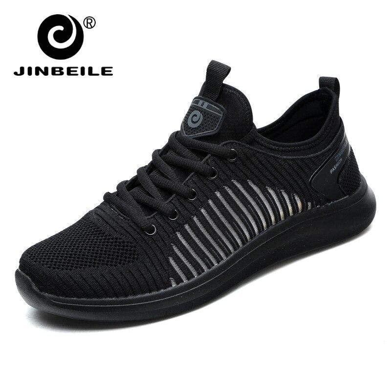 JINBEILE Ultra Light Men's Vulcanize Shoes Black Lace up Shoes Breathable Men's Flat Sneakers Tide Shoes Size 44 Summer 2019