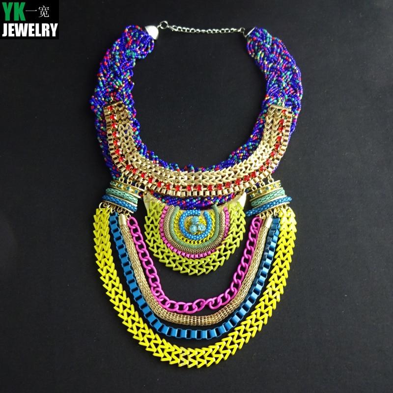 N2015111802 Boho estilo exagerado declaración cadena multinivel Collares  mujeres vestido de noche de la joyería gargantilla COLLAR COLGANTE 4ce6c665f733