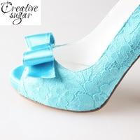 Turquoise Aqua Lace Bow Shoes Wedding Party Shoes Peep Toe Open Toe Heels Pumps Green Blue