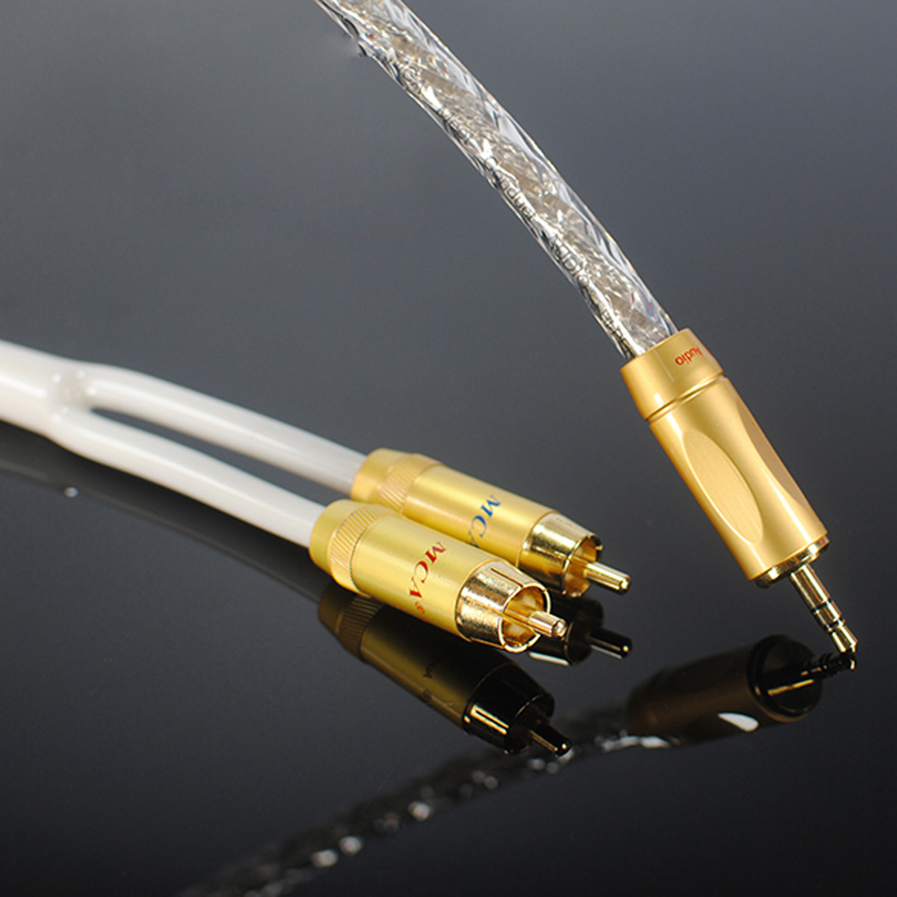 Original MCA Audio cable Stereo 3.5mm to 2RCA Silver Plated Hi-Fi - for MP3 CD DVD TV PC Audiophile cable Free Shipping