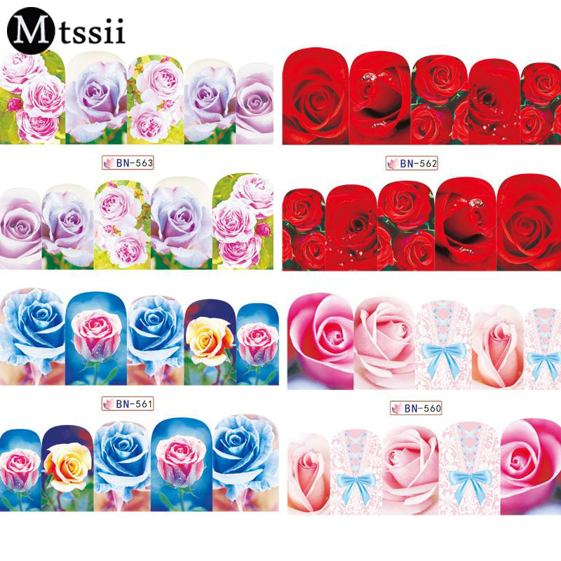 Mtssii 12 Designs Water Transfer Nail Sticker Set Flowers Full Cover Stencil Slider Manicure Color Nail Art Rose Decals colorful flowers water transfer nail