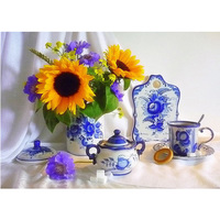 Flower And Tea Service Diamond Embroidery 3D DIY Diamond Painting Full Square Drill Embroidered Mosaic Needlework