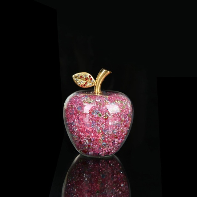 Colorful Crystal Craft Glass Apple Paperweight with Diamond Natural Stone Home Decor Ornament Fruit Figurines Gift Souvenir 2