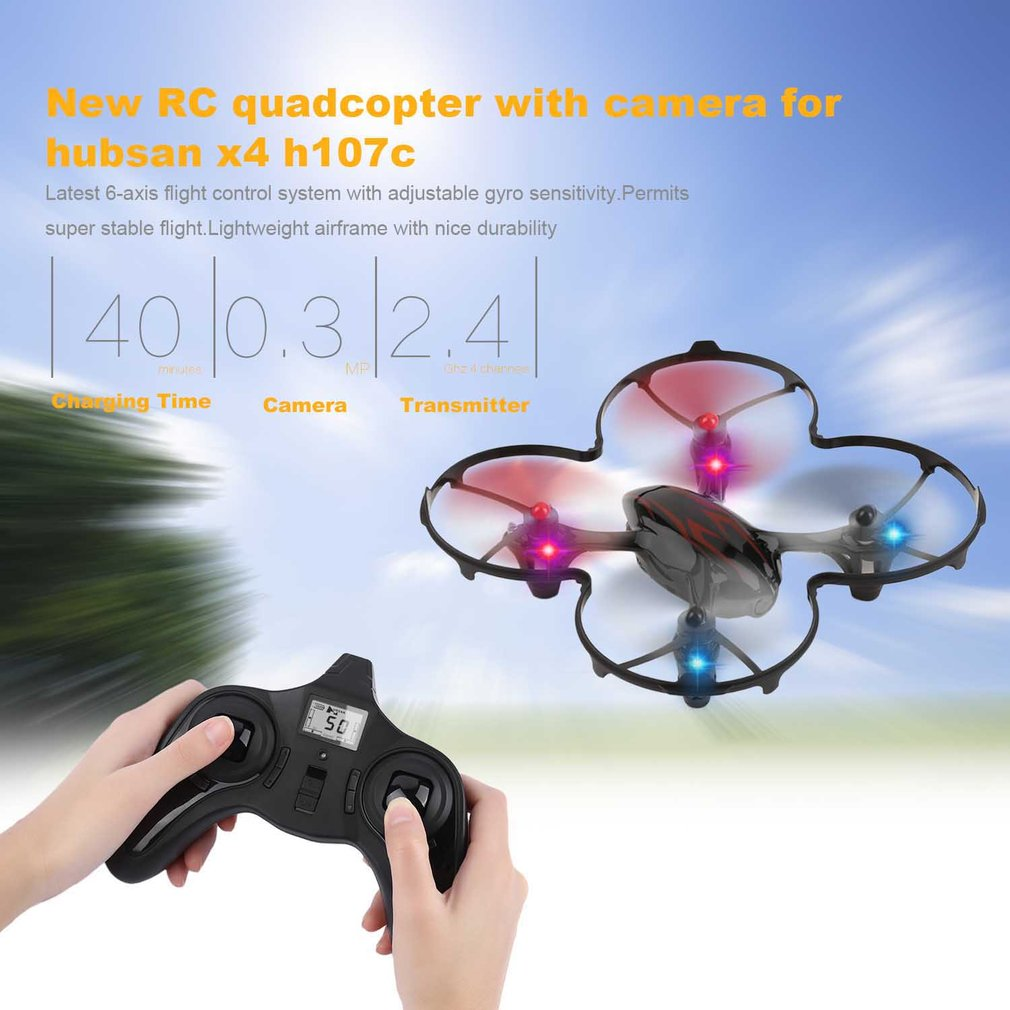 RC Drone with 0.3MP Camera for Hubsan X4 H107C 2.4G 4CH 6 Axis RC Quadcopter Gyro Drone Black & Red Toys RC Helicopter Hot lipo battery 7 4v 2700mah 10c 5pcs batteies with cable for charger hubsan h501s h501c x4 rc quadcopter airplane drone spare