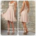 Blush Rosa Lace Vestidos Dama de honra Com Decote Em V Sem Encosto Curto Da Dama de Honra Vestido Feito Sob Medida Vestido de Festa 2017 Vestidos Para Festa