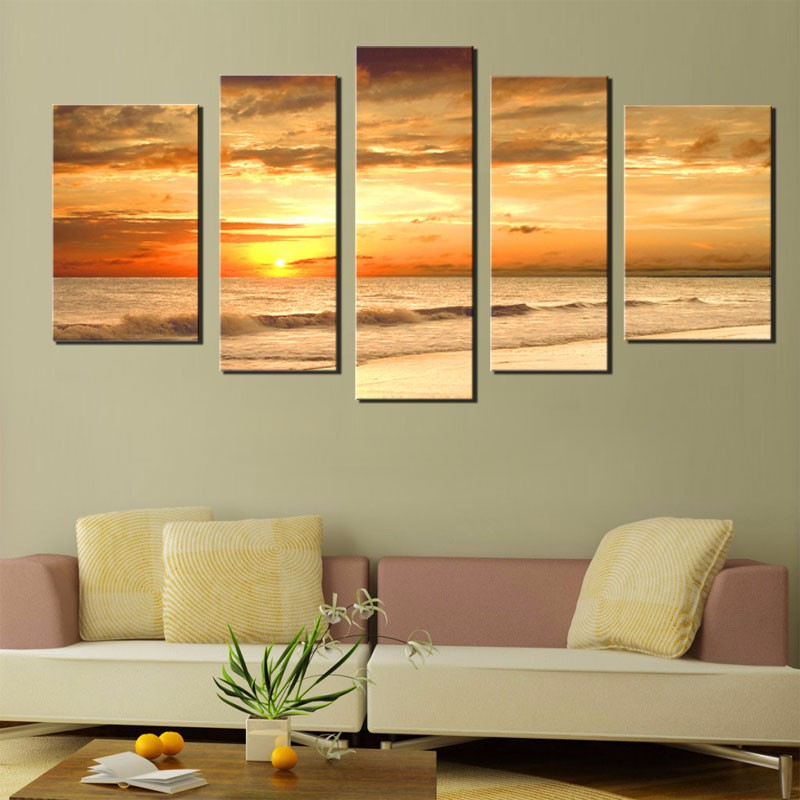 Sunset sea beach ocean wave landscape oil painting on canvas for living room wall art picture for Oil painting for living room