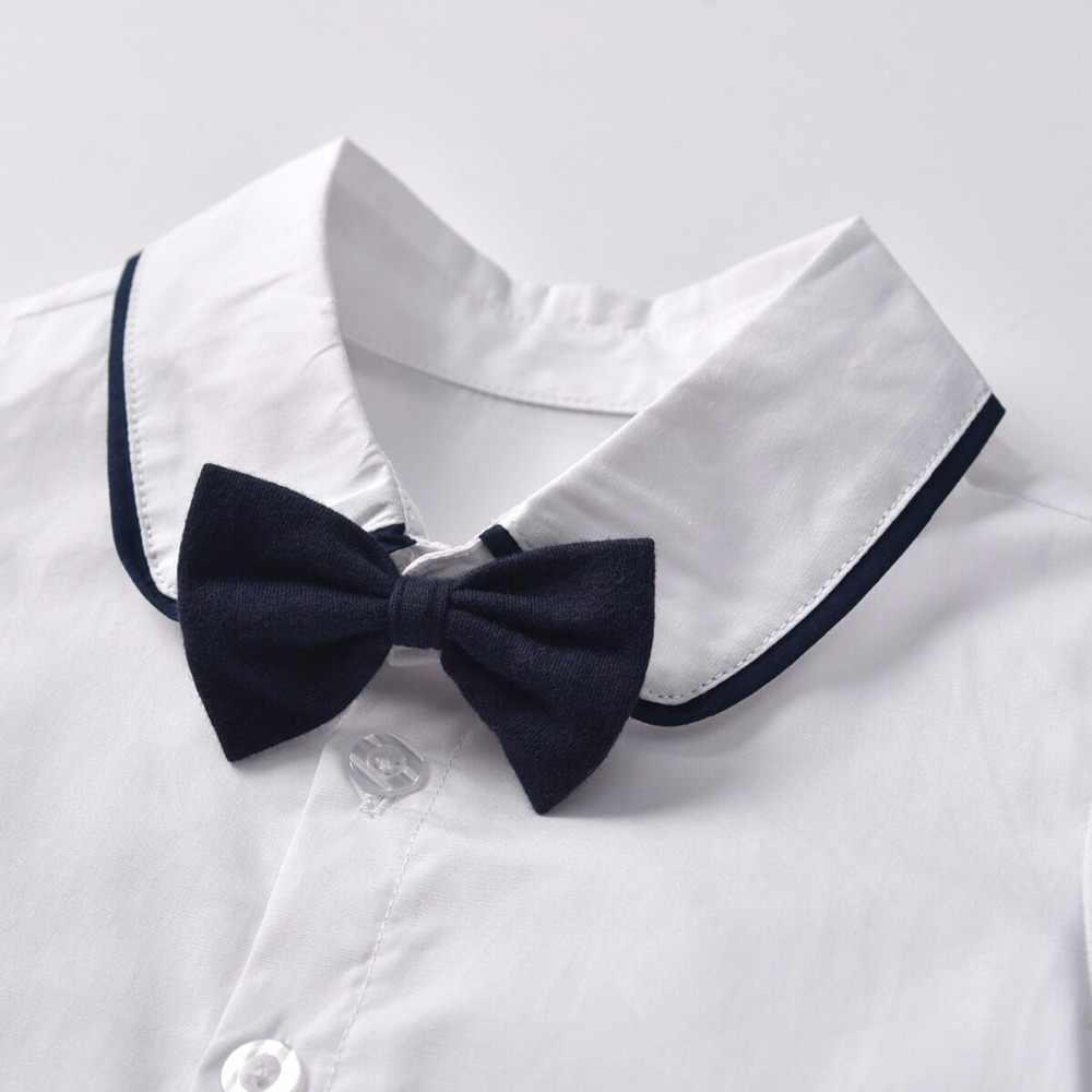 2019 новые белые хлопковые рубашки с длинными рукавами для мальчиков + черный бант + штаны на подтяжках, комплект одежды для маленьких джентльменов из 3 предметов, одежда для мальчиков на свадьбу