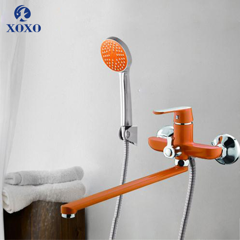XOXO Bathroome shower faucet Outlet pipe Brass body surface Spray painting bathroom rainfall shower faucet waterfall